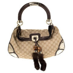 Gucci Beige/Metallic Brown GG Canvas and Leather Mink Indy Hobo