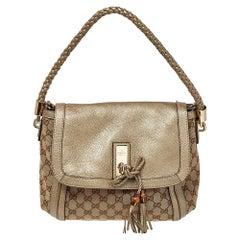 Gucci Beige/Metallic GG Canvas and Leather Medium Bella Shoulder Bag