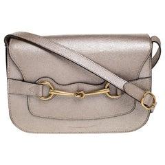 Gucci Beige Metallic Leather Bright Bit Shoulder Bag