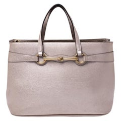 Gucci Beige Metallic Leather Bright Bit Tote