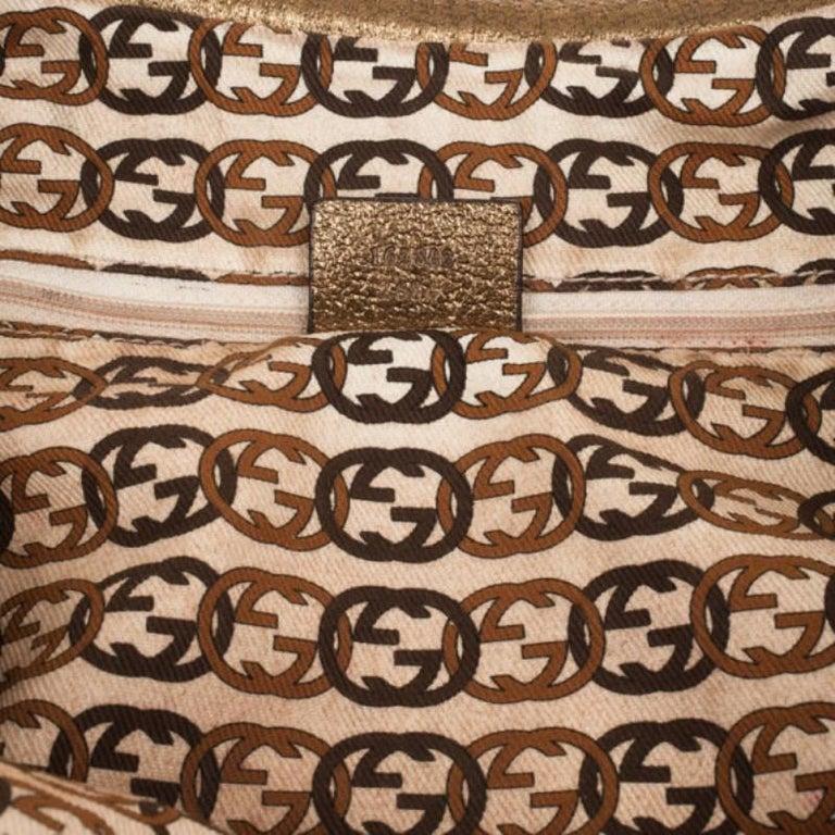 Gucci Beige Metallic Monogram Heart Bit Hobo For Sale 5