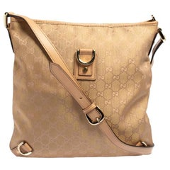 Gucci Beige/Metallic Pink GG Canvas and Leather Abbey Messenger bag