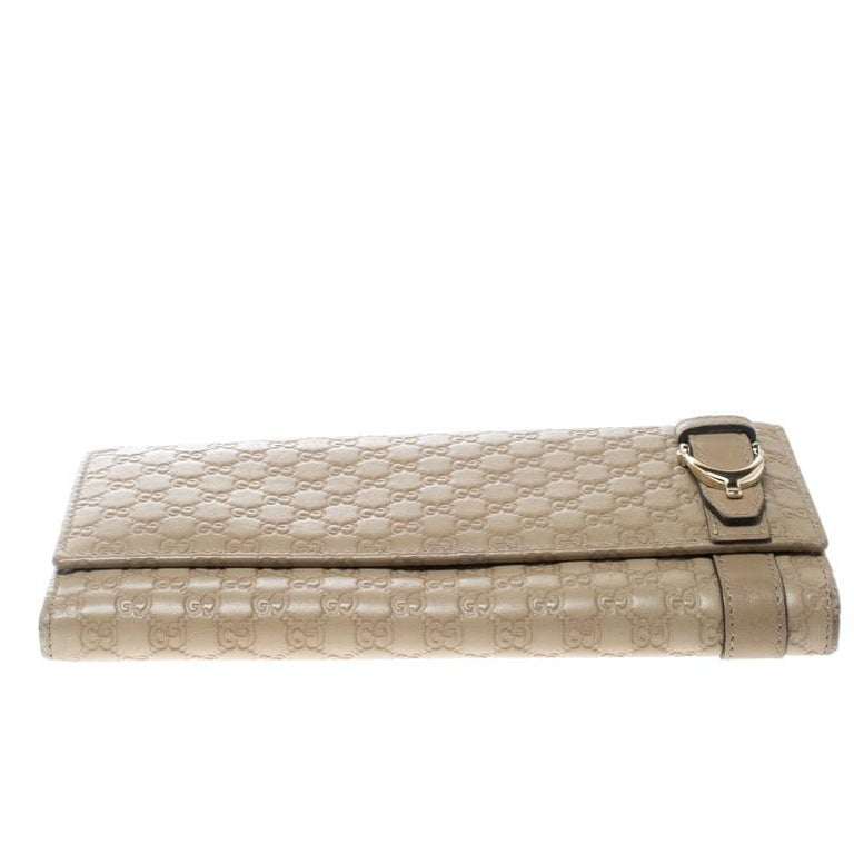 074b4c8040ef Women's Gucci Beige Micro Guccissima Leather Continental Wallet For Sale