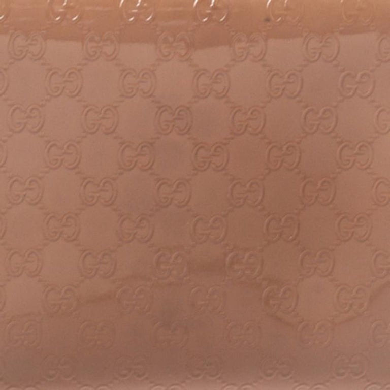 Gucci Beige Micro Guccissima Patent Leather Zip Around Wallet For Sale 6