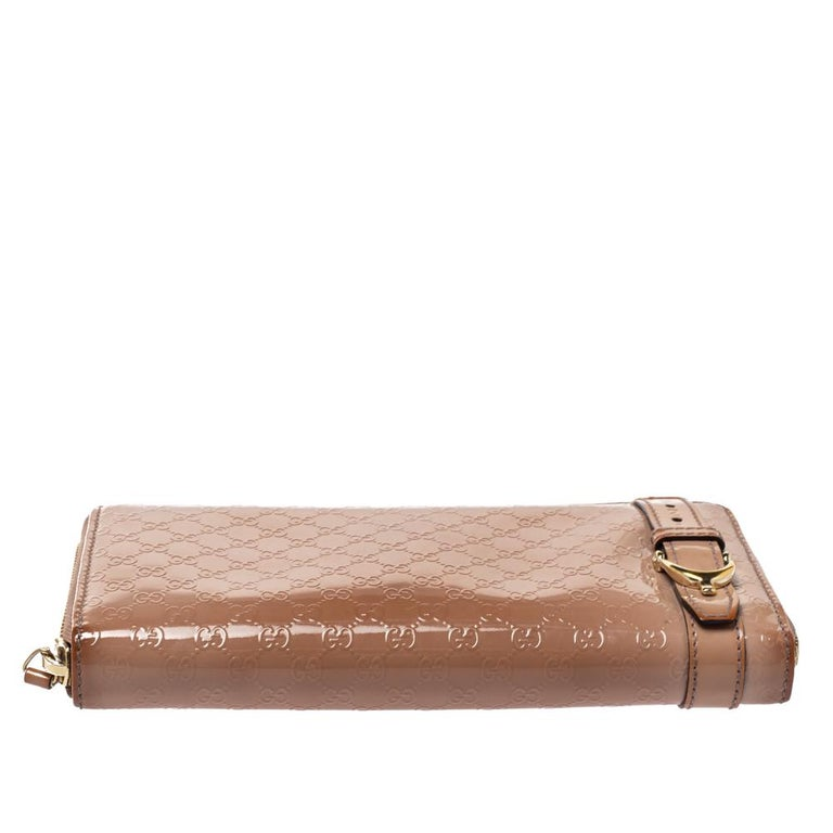 Women's Gucci Beige Micro Guccissima Patent Leather Zip Around Wallet For Sale