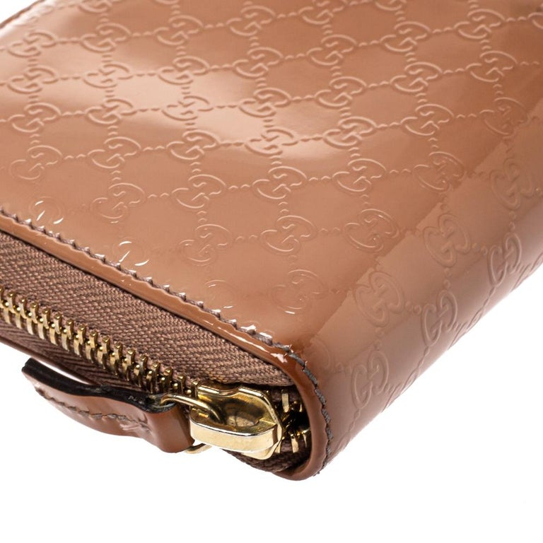 Gucci Beige Micro Guccissima Patent Leather Zip Around Wallet For Sale 2