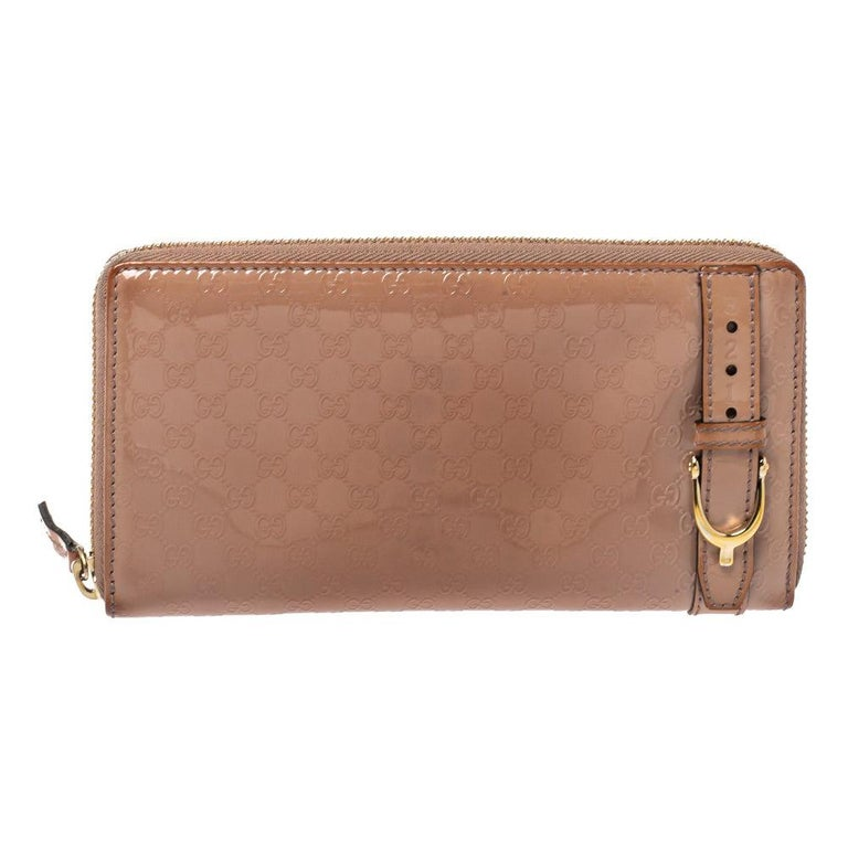Gucci Beige Micro Guccissima Patent Leather Zip Around Wallet For Sale