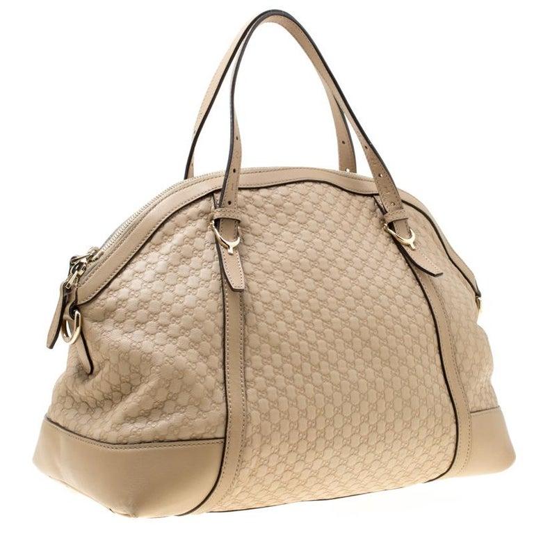Gucci Beige Microguccissima Leather Medium Nice Top Handle Bag In Good Condition In Dubai, Al Qouz 2