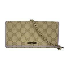 Gucci Beige Monogram Canvas and Lilac Leather WOC Wallet on Chain
