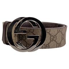 Gucci Beige Monogram Canvas Belt GG Buckle Size 95/38