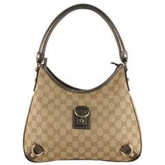 Gucci Beige Monogram Canvas D Ring Abbey Hobo Shoulder Bag