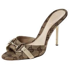Gucci Beige Monogram Canvas Horsebit Open Toe Sandals Size 36