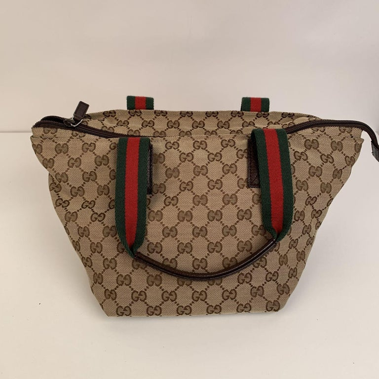Gucci Beige Monogram Canvas Small Tote Bag with Web Handles For Sale 1