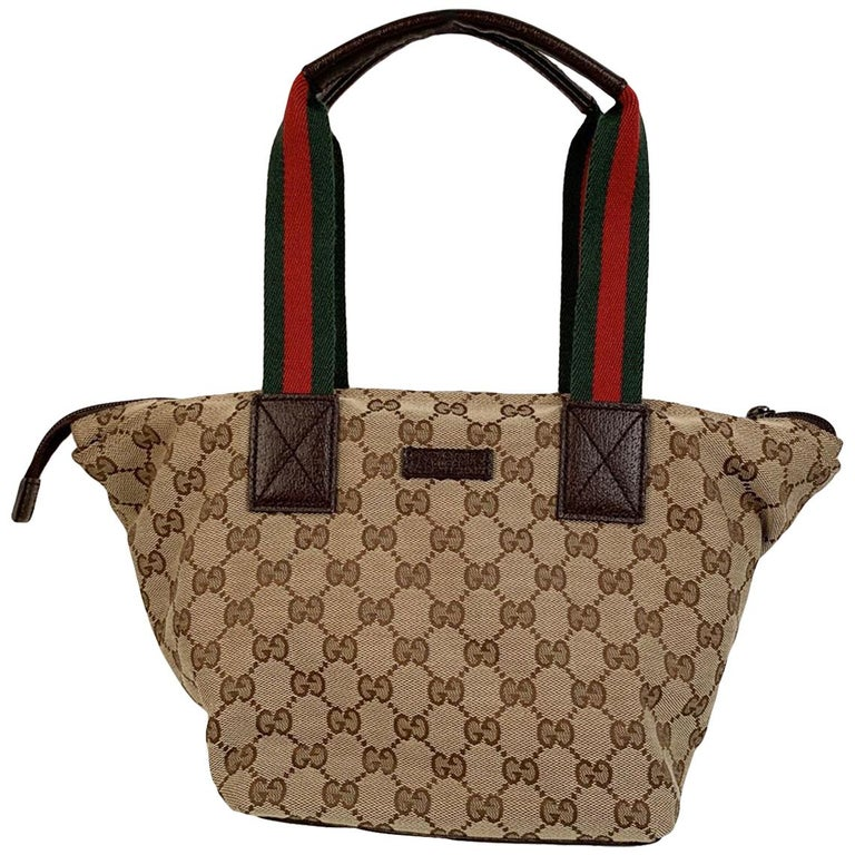 Gucci Beige Monogram Canvas Small Tote Bag with Web Handles For Sale