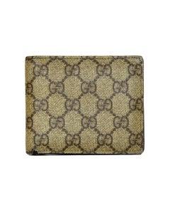 Gucci Beige Monogram Supreme Compact Men's Wallet