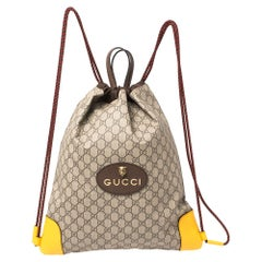 Gucci Beige/Mustard GG Supreme Canvas and Leather Neo Vintage Drawstring Backpac