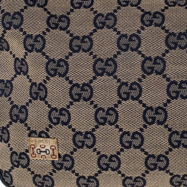 Gucci Beige/Navy Blue GG Canvas and Leather Web Shoulder Bag For Sale 5