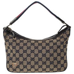 Gucci Beige/Navy Blue GG Canvas and Leather Web Shoulder Bag