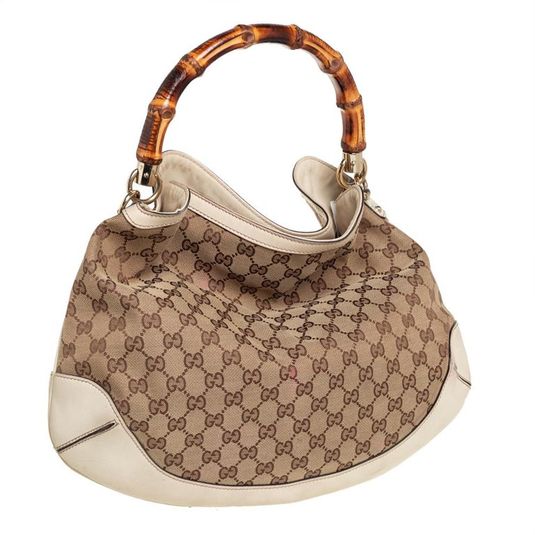 Brown Gucci Beige/Off White GG Canvas Diana Bamboo Hobo For Sale