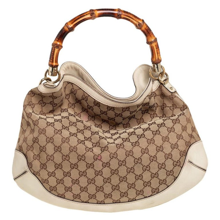 Gucci Beige/Off White GG Canvas Diana Bamboo Hobo For Sale