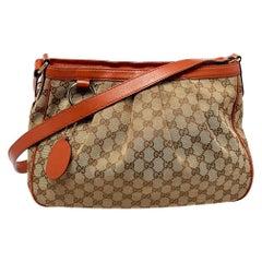 Gucci Beige/Orange GG Canvas and Leather Medium Sukey Messenger Bag