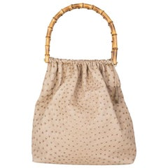 GUCCI beige OSTRICH BAMBOO HANDLE Soft Tote Bag