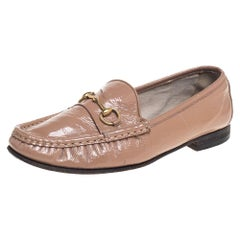 Gucci Beige Patent Leather Horsebit Slip On Loafers Size 38
