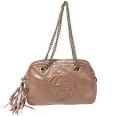 Gucci Beige Patent Leather Large Soho Chain Shoulder Bag