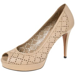 Gucci Beige Perforated Leather Peep Toe Platform Pumps Size 38.5