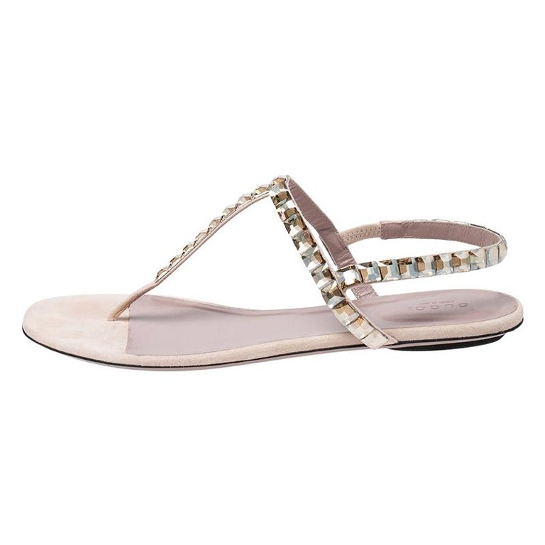Gucci Beige/Pink Crystal Embellished Suede Mallory Thong Flats Size 39.5 For Sale