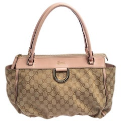 Gucci Beige/Pink GG Canvas and Leather Abbey D-Ring Satchel