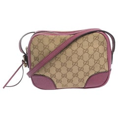 Gucci Beige/Pink GG Canvas and Leather Crossbody Bag