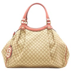 Gucci Beige/Pink GG Canvas Leather Sukey Bag