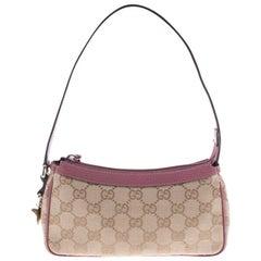 Gucci Beige/Pink GG Canvas Pochette Bag