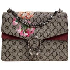 Gucci Beige/Pink GG Supreme Canvas and Suede Medium Dionysus Shoulder Bag