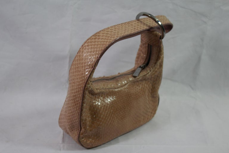 Brown Gucci Beige / Pink Mini  Handbag in Python Leather For Sale