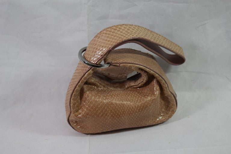Gucci Beige / Pink Mini  Handbag in Python Leather In Good Condition For Sale In Paris, FR