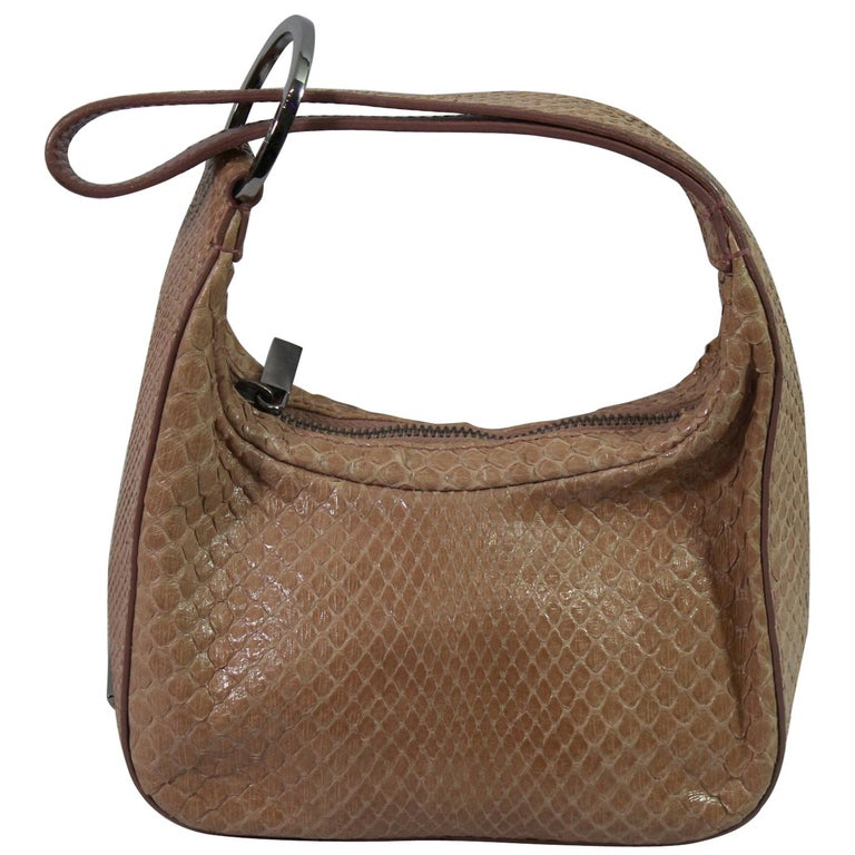 Gucci Beige / Pink Mini  Handbag in Python Leather For Sale