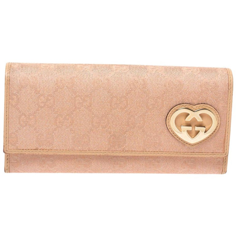 Gucci Beige/Pink Shimmer GG Canvas Lovely Heart Continental Wallet For Sale