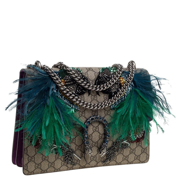Gucci Beige/Purple GG Supreme Canvas and Suede Medium Dionysus Shoulder Bag In Good Condition In Dubai, Al Qouz 2