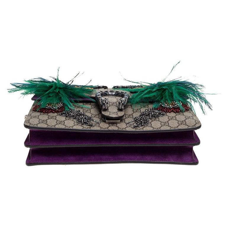 Women's Gucci Beige/Purple GG Supreme Canvas and Suede Medium Dionysus Shoulder Bag