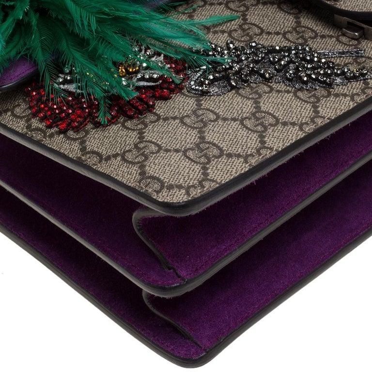 Gucci Beige/Purple GG Supreme Canvas and Suede Medium Dionysus Shoulder Bag 2