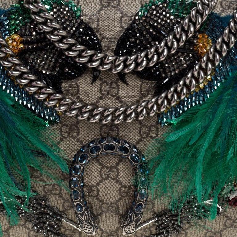 Gucci Beige/Purple GG Supreme Canvas and Suede Medium Dionysus Shoulder Bag 3