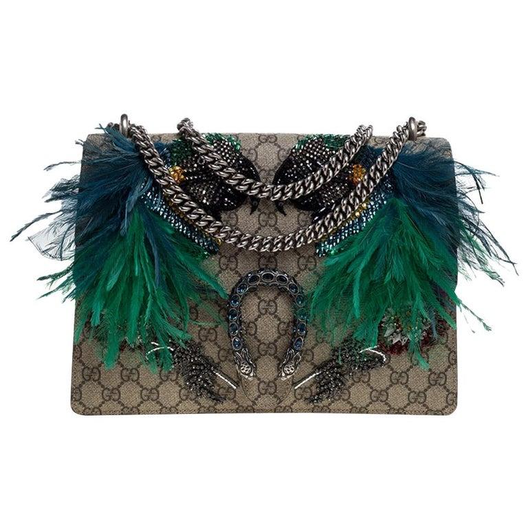Gucci Beige/Purple GG Supreme Canvas and Suede Medium Dionysus Shoulder Bag