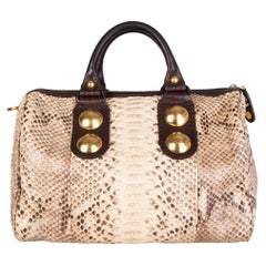 GUCCI beige PYTHON BABOUSHKA BOSTON Top Handle Bag