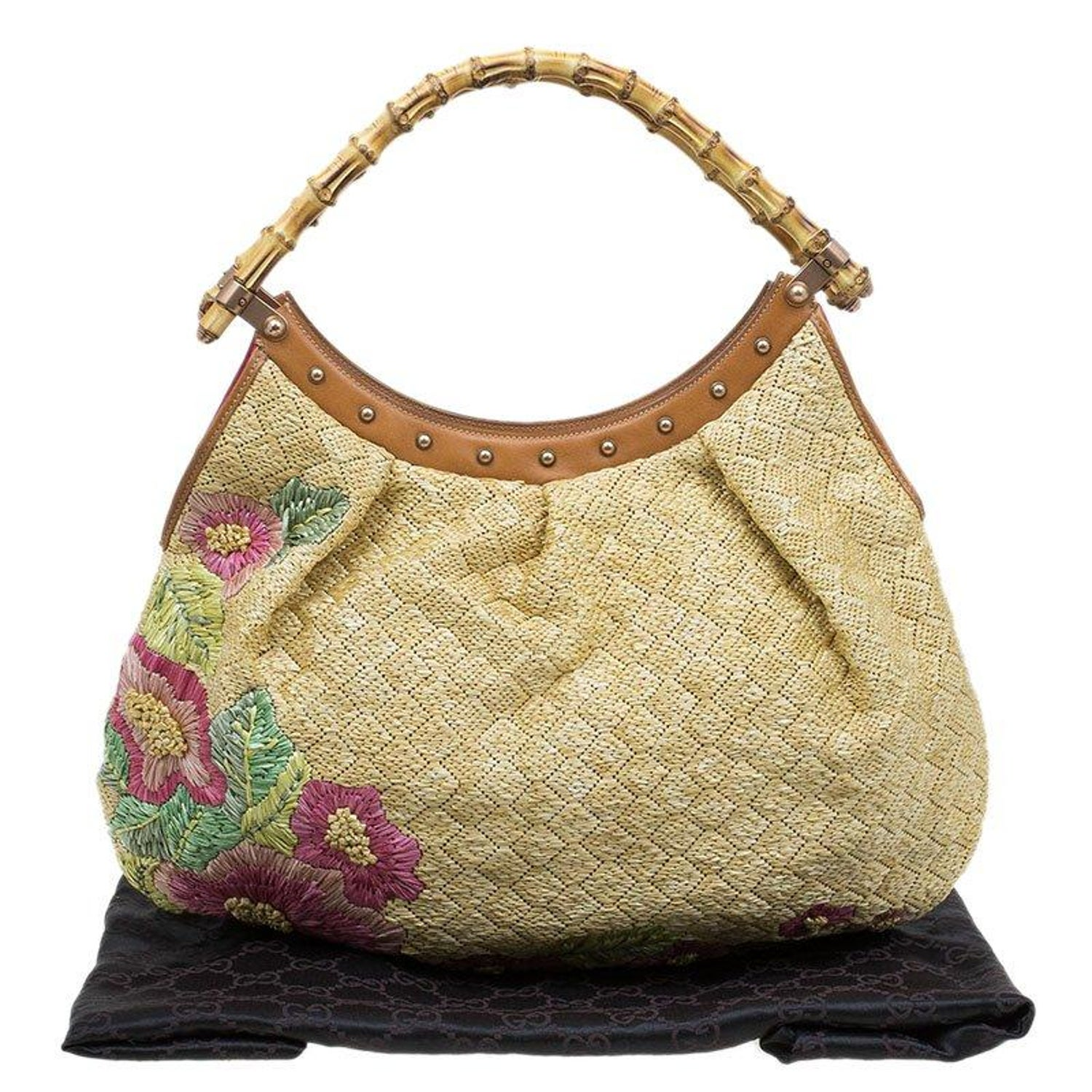 2a842aec9ad Gucci Beige Raffia Floral Print Bamboo Hobo For Sale at 1stdibs