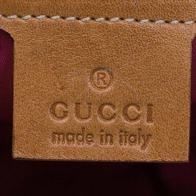 Gucci Beige Raffia Floral Print Bamboo Hobo For Sale 4