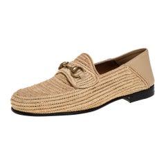 Gucci Beige Raffia Jordaan Horsebit Slip On Loafers Size 41.5