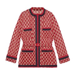 GUCCI beige & red cotton GG MACRAME BELTED OVERSIZED Jacket 40 S