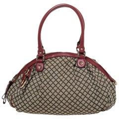 Gucci Beige/Red GG Canvas and Leather Medium Sukey Bag